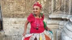 Old Cuban Woman dancing in Havana, Cuba Stock Footage