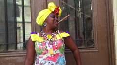 Attractive Young Woman with Traditional Costume in Havana, Cuba Stock Footage