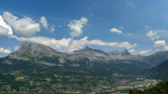 Haute Savoie Alps mountain valley Passy city summer time lapse  Stock Footage