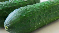 Stock Video Footage of large fresh cucumbers