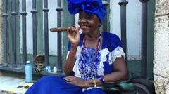 Black Lady Dancing with Cigar in Havana, Cuba Stock Footage
