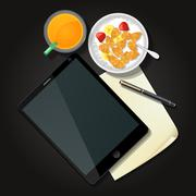 Illustration of tablet with cereal bowl and orange juice Stock Illustration