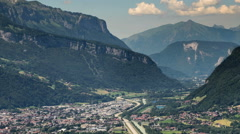Sallaches city valley highway Haute Savoie Alps time lapse  Stock Footage