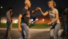 Young people dancing Latin dances in the city park. Stock Footage