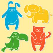 Stock Illustration of Cat, rabbit, elephant and parrot