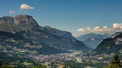Sallaches and Passy cities in Haute Savoie alpine valley Stock Footage