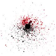 Stock Illustration of Black and red water color spashes and dots
