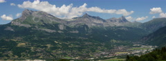 Sallaches and Passy cities in Haute Savoie alpine valley time lapse digital back Stock Footage