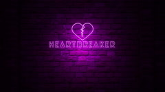 Heartbreaker Sign Neon Light Stock Footage