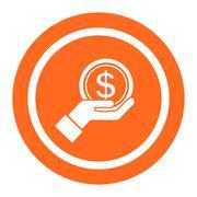 Dollar sign on palm Stock Illustration