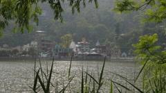 View of Rewalsar Lake,Rewalsar,Himachal Pradesh,India Stock Footage
