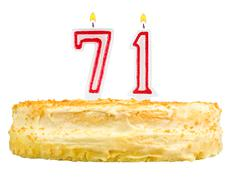 Birthday cake with candles number seventy one Stock Photos