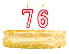 Birthday cake with candles number seventy six Stock Photos