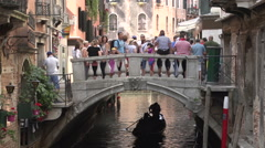 Gondola passing by in canal Stock Footage