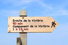 Hiking trail sign near Alcudia on Mallorca - stock photo