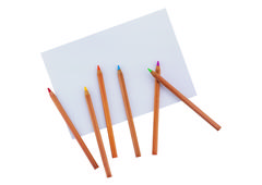 Album and colored Pencils Stock Photos