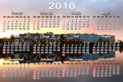 Stock Illustration of calendar for 2016 with landscape of river and modern house