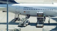 Airport traffic at Frankfurt Airport Stock Footage