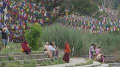 People feeding fish at lake,Rewalsar,Himachal Pradesh,India Stock Footage