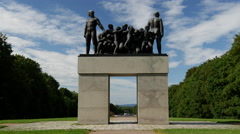 Monument Sculpture in Vigeland sculpture park Oslo Norway Stock Footage