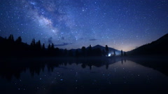 Astro Time Lapse of Milky Way over Reflective Alpine Lake in Yosemite -Zoom Out- - stock footage