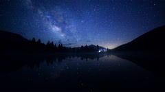 Stock Video Footage of Astro Time Lapse of Milky Way over Reflective Alpine Lake in Yosemite
