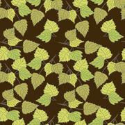 Birch leaves (brown background) - stock illustration