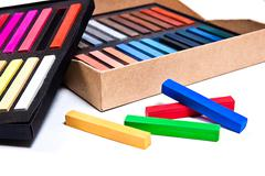 Close up view of the chalk pastels. Stock Photos