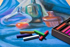Artists pastels and original pastel drawing of still life. Stock Photos