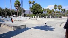 Skater's Point Skatepark in Santa Barbara, California, USA Stock Footage