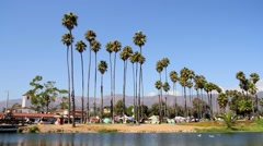 Santa Barbara beach front from the pier, California, USA Stock Footage