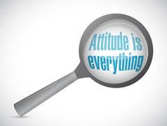 attitude is everything magnify sign concept - stock illustration