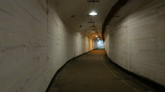 """The old Soviet military base. Corridor with arrows """"In bombshelter"""" Stock Footage"""