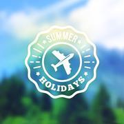 Summer vacation retro label. Vector badge on blurred background - stock illustration