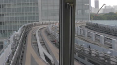 Stock Video Footage of POV Shot of Monorail Train from Odaiba in Japan