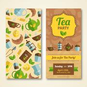Tea party announcement 2 vertical banners Stock Illustration