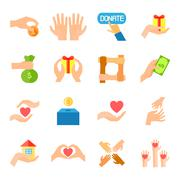 Donate And Giving Icon Set - stock illustration