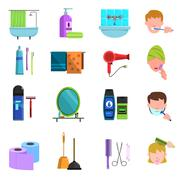 Personal care products flat icons set - stock illustration