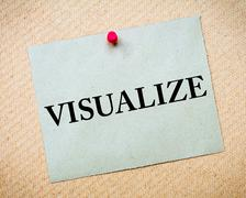 Visualize Message written on paper note Stock Photos