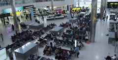 Interior overview from above of Heathrow Airport in London England Stock Footage