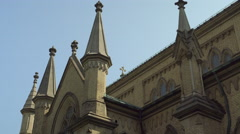 Zooming in on a church cross. 4K UHD. Stock Footage