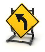 Road sign - turn left - stock illustration