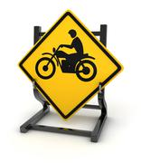 Road sign - motorbike - stock illustration