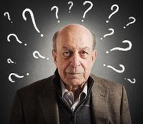 Old man confused - stock photo