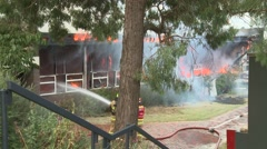 School Fire Classroom ablaze Fire fighting - stock footage