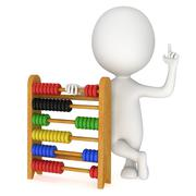Stock Illustration of 3d man with toy abacus