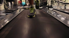 Running indoor training  at gym Stock Footage
