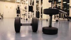 Gym weight and machines front Stock Footage