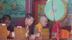 Monks meditating and praying in monastary,Rewalsar,Himachal Pradesh,India Stock Footage