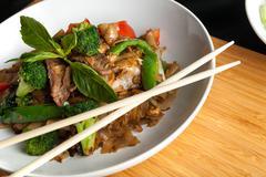 Drunken Noodle Thai Dish Stock Photos